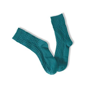 Cable Socks - Green