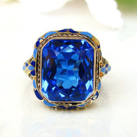 Antique Engagement Ring 5.21ct Synthetic Blue Spinel Enamel Art Deco Engagement Ring 14K White Gold Filigree Antique Wedding Ring!