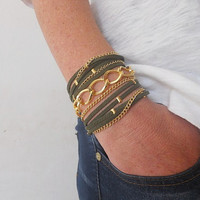 Boho Chic 5X Wrap Bracelet with Dark Green Suede cord and Gold Plated Chains.