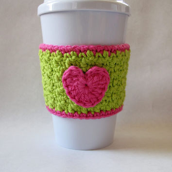 Crochet Green and Pink Heart Coffee Cup Cozy