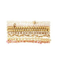 Gold Bead, Rope & Chain Bracelets - 8 Pack by Charlotte Russe
