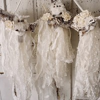 White owl nesting branch wall hanging with torn tattered muslin and lace