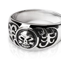 To Hell and Back - FINAL SALE Life death engraved black oxidized stainless steel men's skull ring