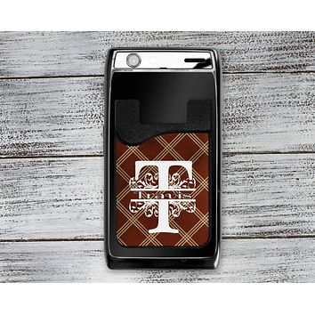 Personalized Cell Phone Caddy | Monogram Phone Wallet | Brown Argyle