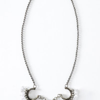 Square Bead Necklace - Silver/Clear
