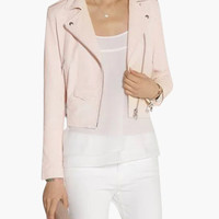 Pink Leather Zipper Detail Jacket