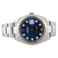 Rolex Datejust II 126334 Oyster Steel & 18k 41mm Blue Diamond Flutted