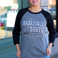 Baseball Down South Raglan by SOUTHERN TREND {Grey}