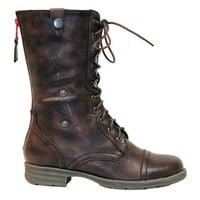 Reneeze DY-B1307 Womens Mid-Calf Combat boots w/ Foldable Lace Up Shaft