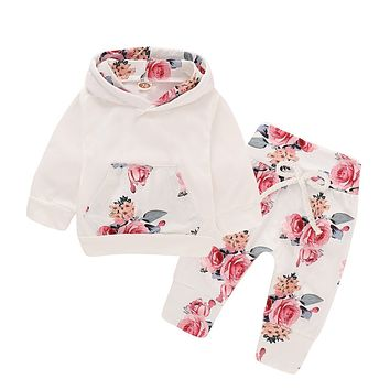 Baby Girls Clothing Set White Color Floral Headband Hooded Sweatshirt Pant 3pcs Newborns Suits Spring Fall Infant Clothing