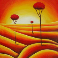 Tall Trees in an Arid Land Oil Painting