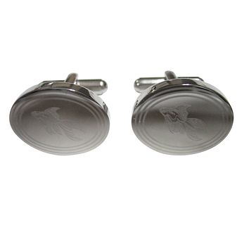 Silver Toned Etched Oval Large Tropical Fish Cufflinks
