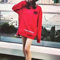 """OFF-WHITE"" Women Casual Letter Print Loose Round Neck Long Sleeve Sweater Tops"