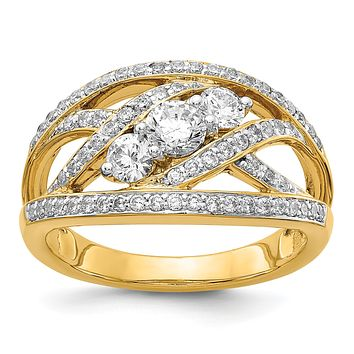 14K Yellow Gold Fancy 3-stone Real Diamond Ring
