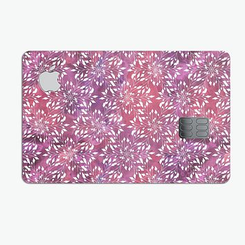 Red and Purple Paint Mix with White Snowflakes  - Premium Protective Decal Skin-Kit for the Apple Credit Card