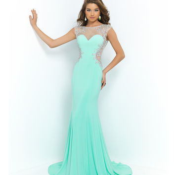 Mint Green Beaded Mesh Illusion Cut Out Open Back Gown