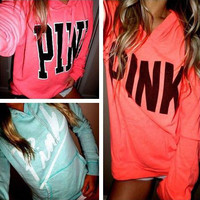 """PINK"" Victoria's Secret Print Long Sleeve Hoodie Sweatshirt Sweater Top"
