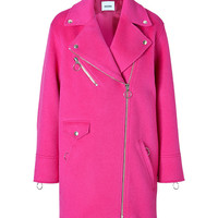 Moschino C&C - Alpaca-Wool Blend Biker-Style Coat in Fuchsia