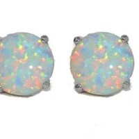 Simulated Opal Round Stud Earrings 14Kt White Gold & Sterling Silver