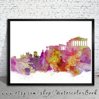 Athens City Skyline, Art Print, big apple poster,  Athens poster, print, Athens watercolor, watercolor poster, map poster, City watercolor,
