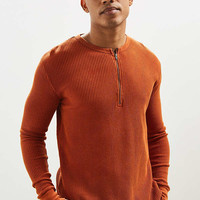 UO Zip Neck Thermal Long Sleeve Tee   Urban Outfitters