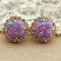 Purple violet  Opal Stud earrings Swarovski Crystal earring bridesmaid jewelry Gift for woman thick Gold plated rhinestone earrings