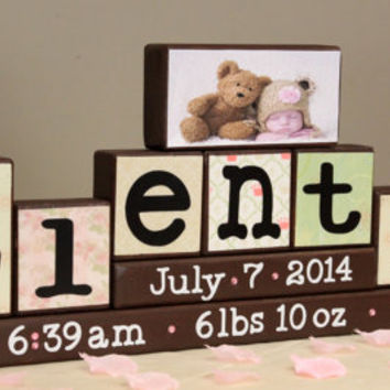 Personalized Baby Blocks with Birth Stats/Announcement/Picture Blocks (9 Letters Name)
