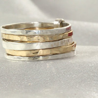 14K Stackable Ring ,14k Gold AND Silver Rings,Set of 5 14K Gold& Silver Rings, 14k Hammered Skinny Rings, Silver Skinny Rings,14K Gold Ring.