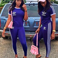 """""""ADIDAS""""stripe sports suit two piece Suit Top With Trouser Blue"""