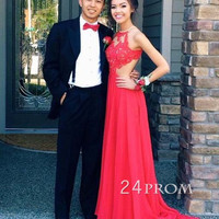 A-line Red Lace Chiffon Backless Long Prom Dress, Formal Dresses