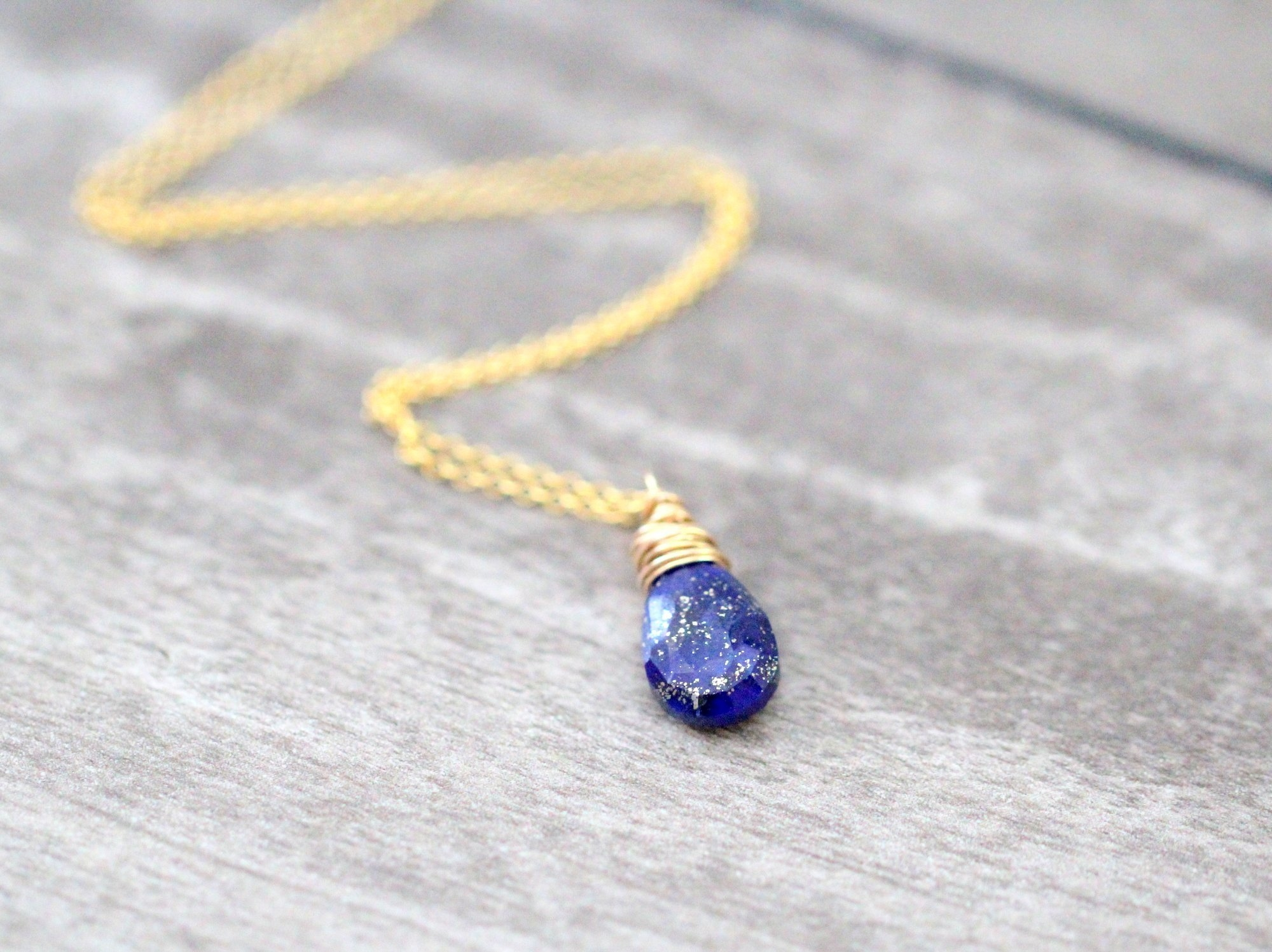Image of Lapis Lazuli Solitaire Necklace - Gold