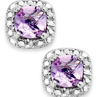 Victoria Townsend Sterling Silver Earrings, Amethyst (1-1/5 ct. t.w.) and Diamond Accent Cushion-Cut Stud Earrings