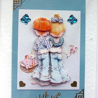 Picnic Romance Hand-Crafted 3D Decoupage Card - With Love (1465)