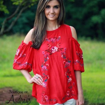 Umgee Red Embroidered Cold Shoulder Top - Boutique At Audrey's