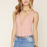 Lace-Up Ribbed Knit Top