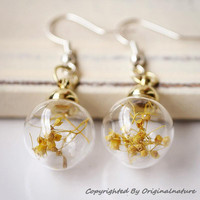 Nature Inspired Jewelry Real Dried Clover Earrings Gift (HM0046-GOLD)