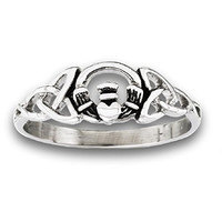 316L Stainless Steel Claddagh Celtic Knot Filigree Ring, Size 5