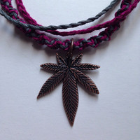Anklet- Layered Pink and Gray Hemp Cord Anklet with Cannabis Charm