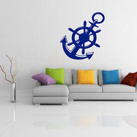 Boat Anchor and Wheel Wall Decal - Home Decor - Sailing - Gift Idea - Living Room - Office - Cottage - High Quality Vinyl Graphic