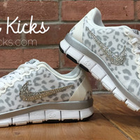 Leopard Bling Nike Free Run 5.0 Glitter Kicks Shoes - Blinged Out /Customized With Swarovski Elements Crystal Rhinestones Cheetah Print