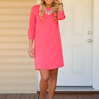 Everly: In The Right Direction Dress-Coral - NEW ARRIVALS