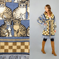 90's CAT Tapestry Blanket Coat