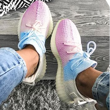 Hipgirls Adidas Trending Yeezy Boost 350 V2 Fresh Color Sports Sneakers Fashion running shoes White and blue powder Ice cream