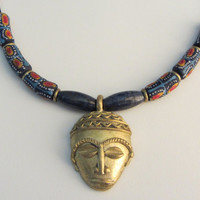16. Ghanaian Brass Tribal Bead Pendant, Lapis Lazuli, Krobo Beads, Brass Discs Necklace 20""