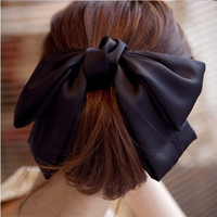 Elegant Silky Ribbon Big Bows Bowknot Hair Clips Barrettes for Girls Headwear Hair Accessories for Women