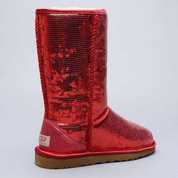 Image of UGG Fashion Red Sequins Ladies Winter Warm Wool Snow Boots I