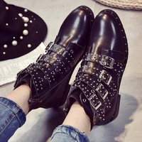 Leather Rivets Booties Buckle Strap Booties