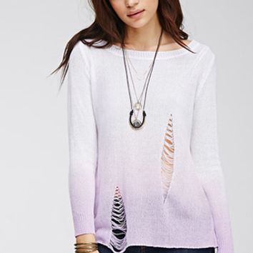 Distressed Open-Knit Ombré Sweater