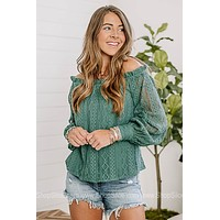 On The Right Track Lace Off Shoulder Top