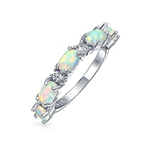 Oval Created White Opal CZ Eternity Band Ring 925 Sterling Silver